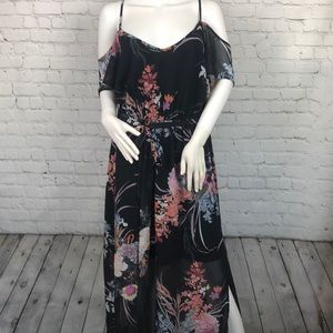 City Chic Black Floral Off Shoulder Dress Size 14